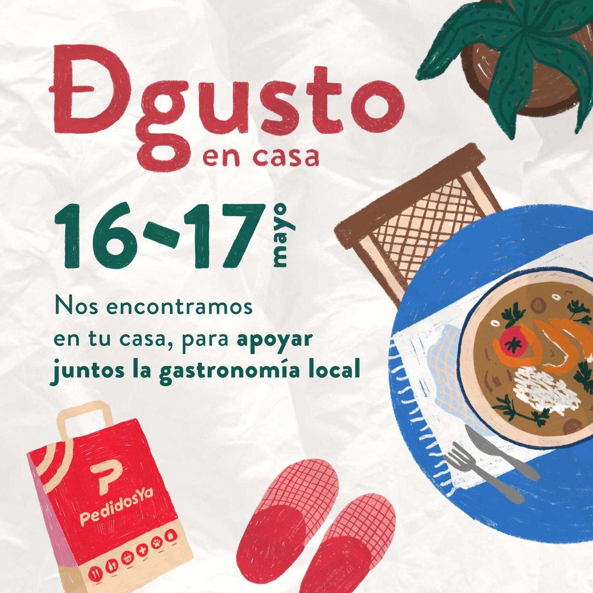 ¡No te vayas a olvidar que los días 16 y 17 de mayo Degusto en casa por Pedidos Ya! #YoDegustoEnCasa @degustomvd https://t.co/ZSnxoIwChz