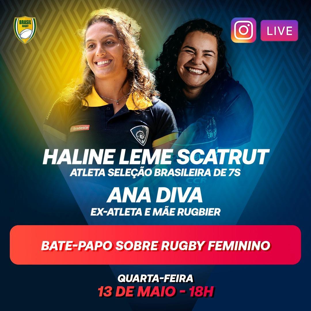 Daqui a pouco, às 18h (horário de Brasília), tem bate-papo especial e ao vivo no Instagram Brasil Rugby: Haline Scatrut e Ana Diva vão conversar sobre rugby feminino e lembrar de algumas boas histórias! Vai ser imperdível! #BrasilRugby #Quarentena #FiqueEmCasa