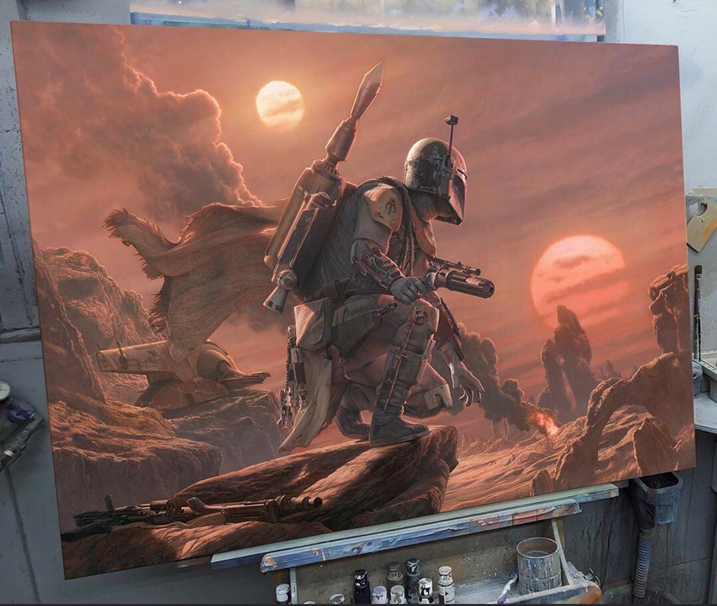 This Boba Fett painting that took several hundreds of hours