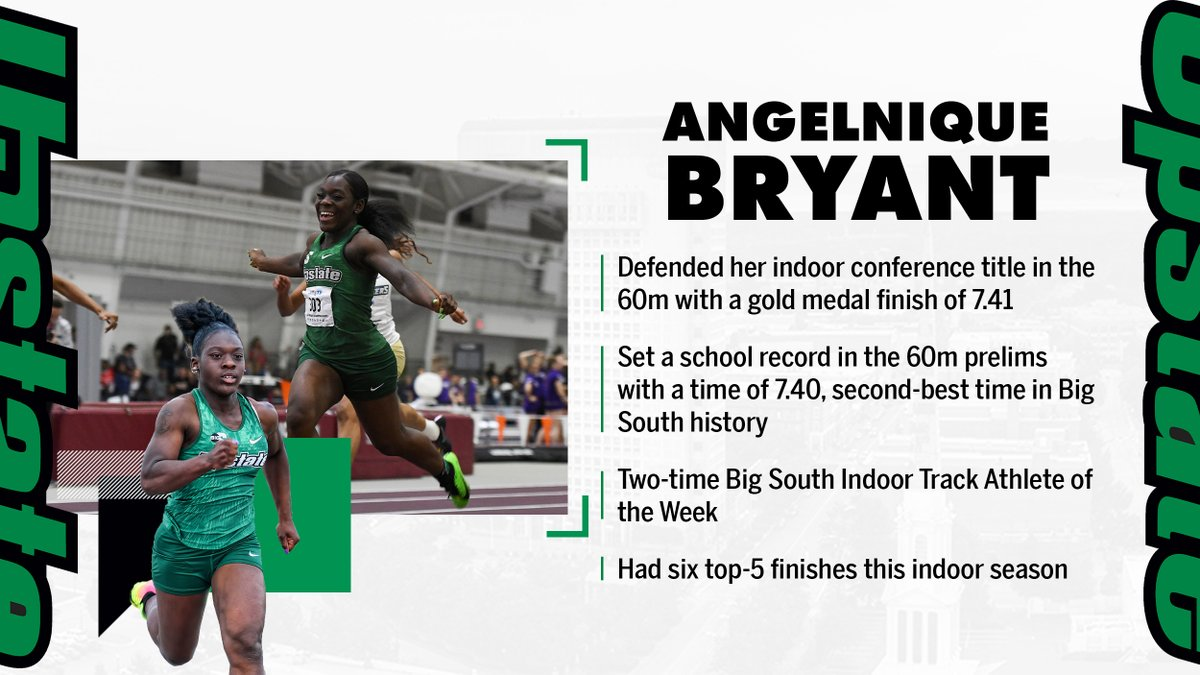 Sophomore standout Angelnique Bryant picked up another conference title this season in the 60m.  #SpartanArmy ➡️ #JoinUP https://t.co/7gx14wnGTS