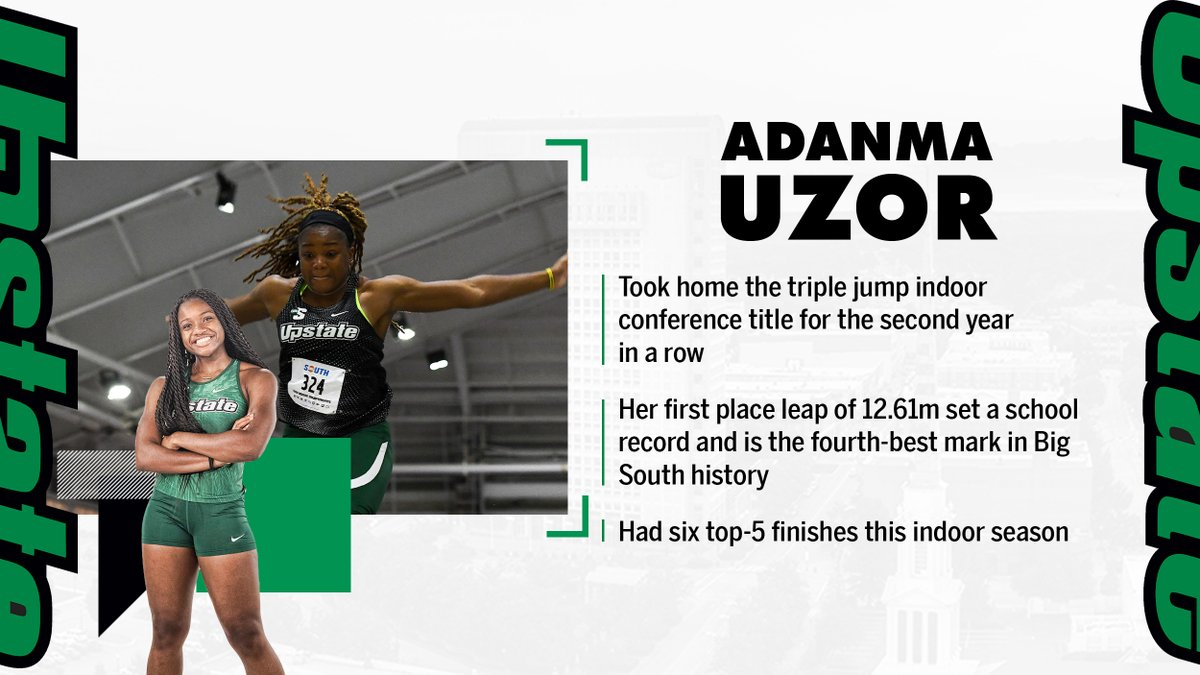 Junior jumper Adanma Uzor once again took gold in the triple jump at the Big South Indoor Championships.  #SpartanArmy ➡️ #JoinUP https://t.co/m3ptOhnnOM
