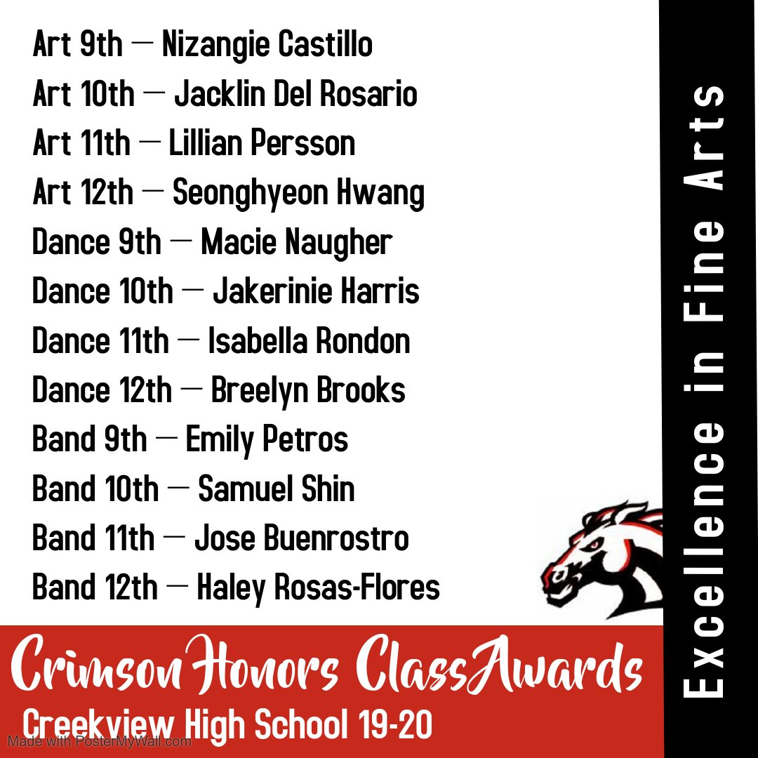 Congratulations to our Crimson Honors Award winners in Dance! We are so proud of you!
