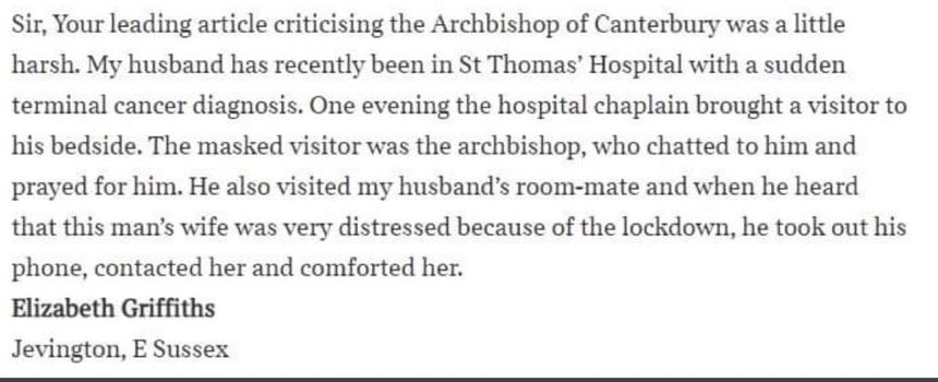 For those who know @JustinWelby the fact he is privately volunteering in hospitals will come as no surprise, but nevertheless it's an example of leadership at its best. https://t.co/pWCPMrmOY1