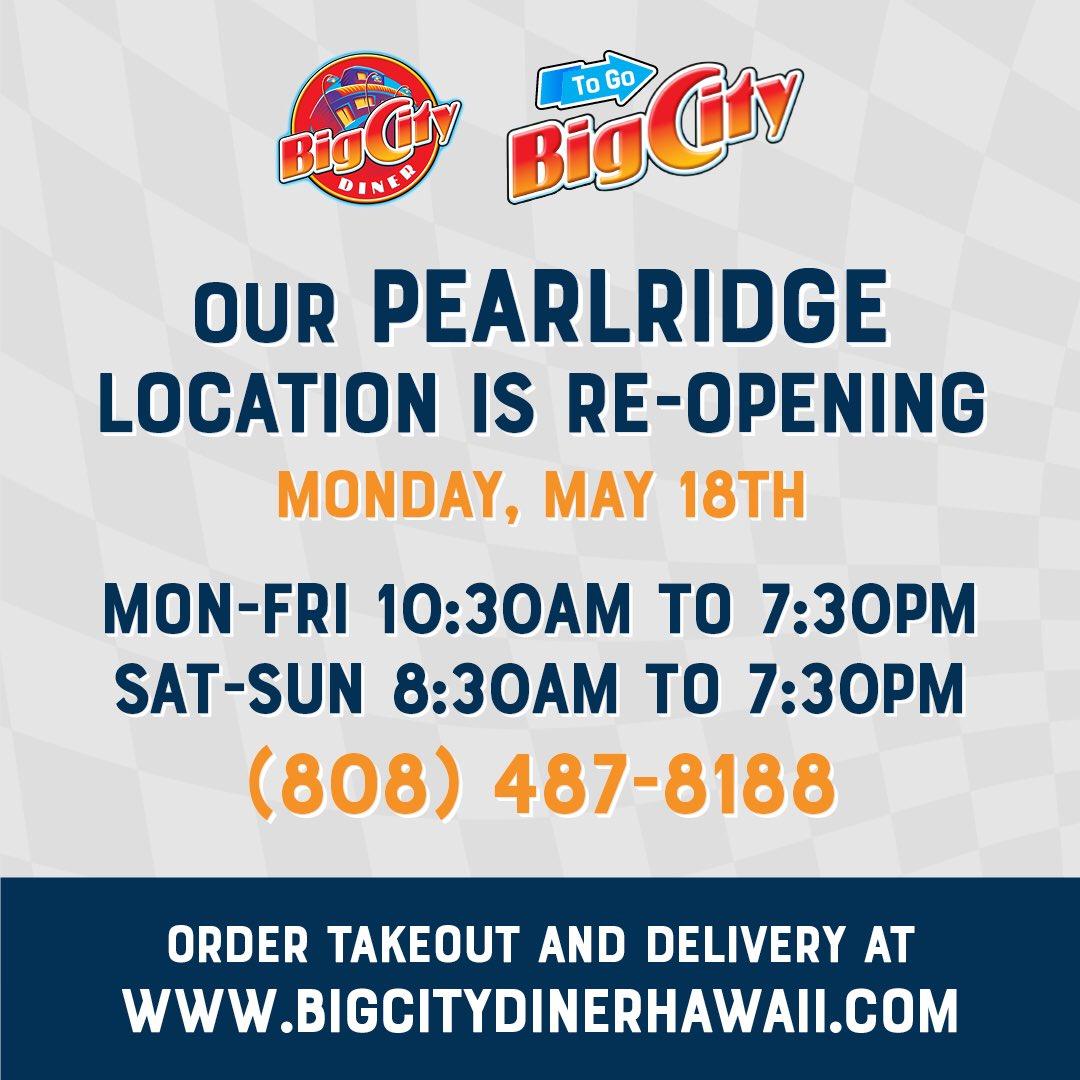 @BigCityDiner at @Pearlridge is NOW OPEN from 10:30 am-7:30 pm (M-F) & from 8:30 am-7:30 pm (Saturday & Sunday) #BigCityDiner #Pearlridge #Hawaii #ComfortFood #Breakfast #Lunch #Dinner #Brunch #Burgers #FreshFish #Steaks #Salads #Beer #Wine #Ribs #Yum
