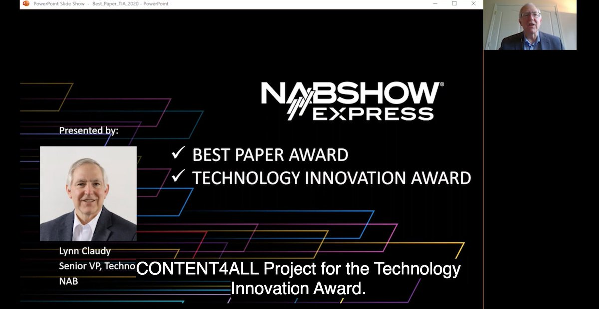 So proud our project won this price! You can check the announcement of the Technology Innovation Award in the opening session of the NABShow Express. #nabexpress #NAB #horizon2020 dir.nabshowexpress.com/8_0/sessions/s…
