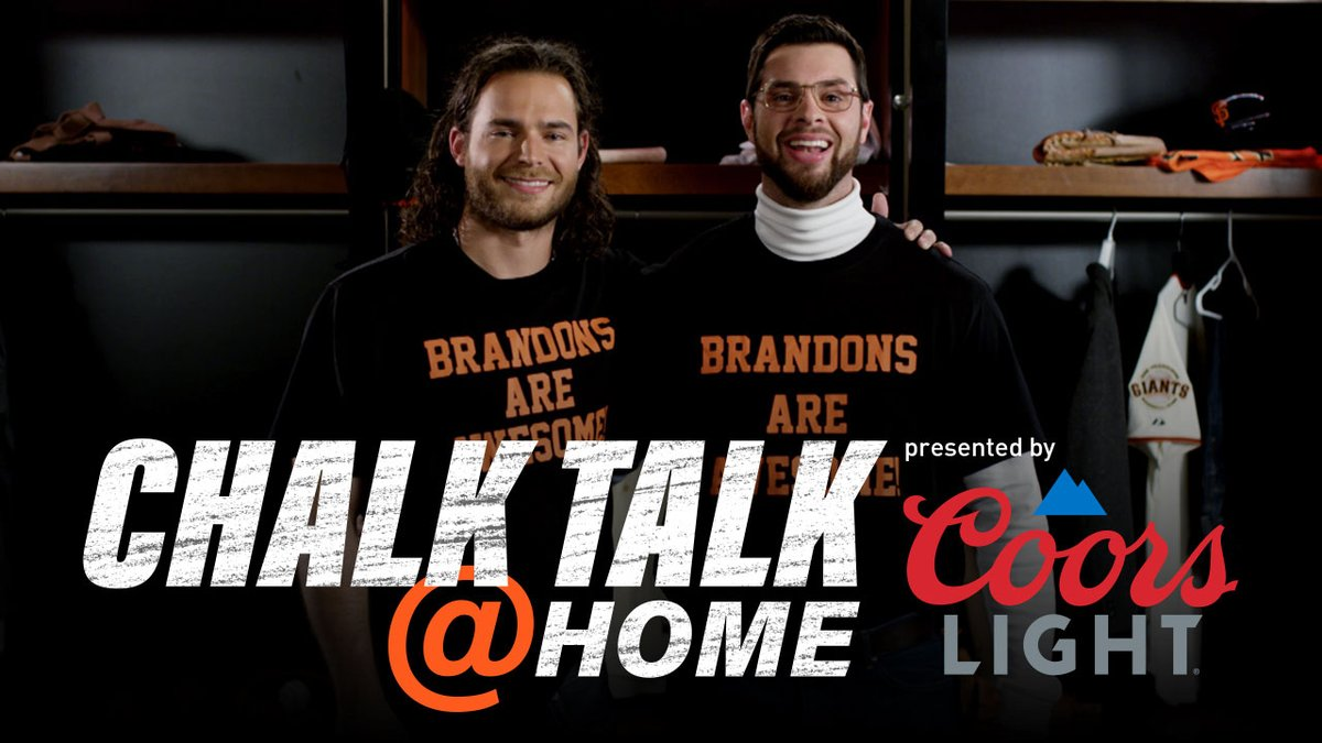 Tonight's Chalk Talk @ Home, presented by @CoorsLight, we've got our broadcasters AND our Brandons.   LIVE on YouTube at 6pm: https://t.co/mBPPFubw1A   #BrandonsAreAwesome | #SFGiants https://t.co/qkX4mhbB2J