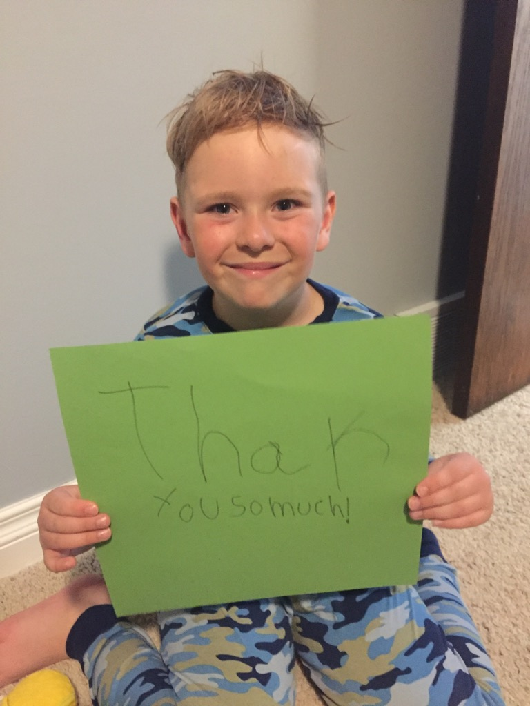 We love seeing this!   Please share your own messages like this cutie did.