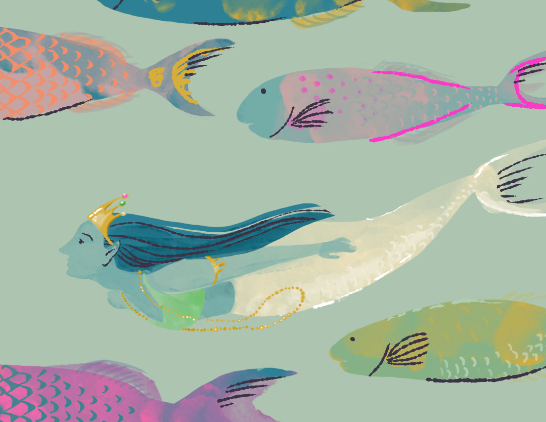 .@mallorygrigg I doubled up my #MerMay and my #QuarantArt today! #Day45 illustration prompt was to do a crowd scene, and this is what came to mind. I wouldn't mind swimming in a crowd of parrotfish right about now!