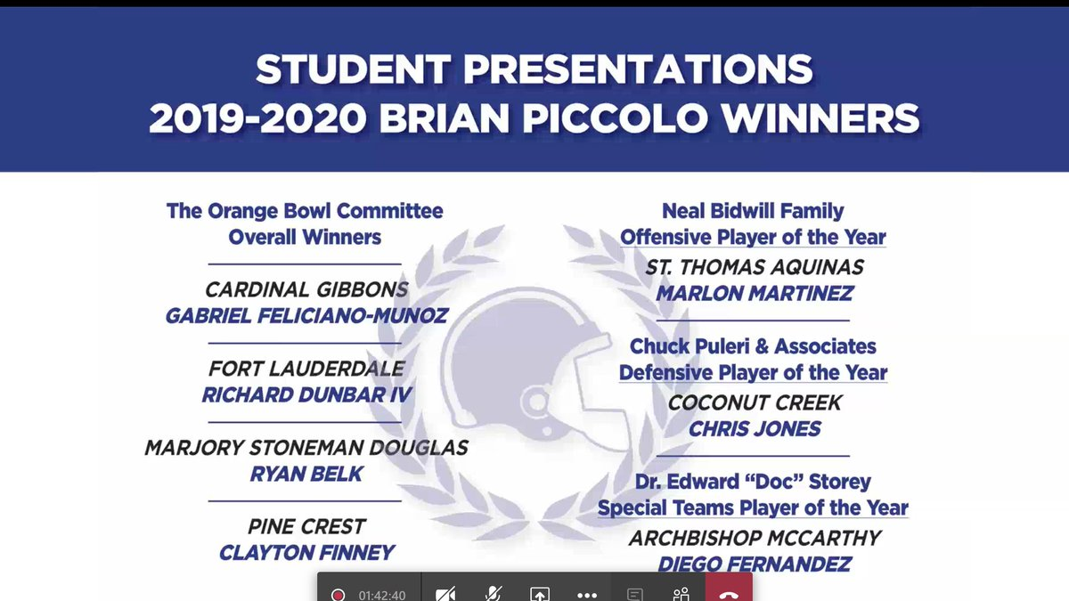 Congratulations to all of the student-athletes honored in this evenings virtual Brian Piccolo Award Ceremony! 📚🍊 #MakeItOrange