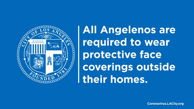 All Angelenos are required to wear protective face coverings outside their homes.
