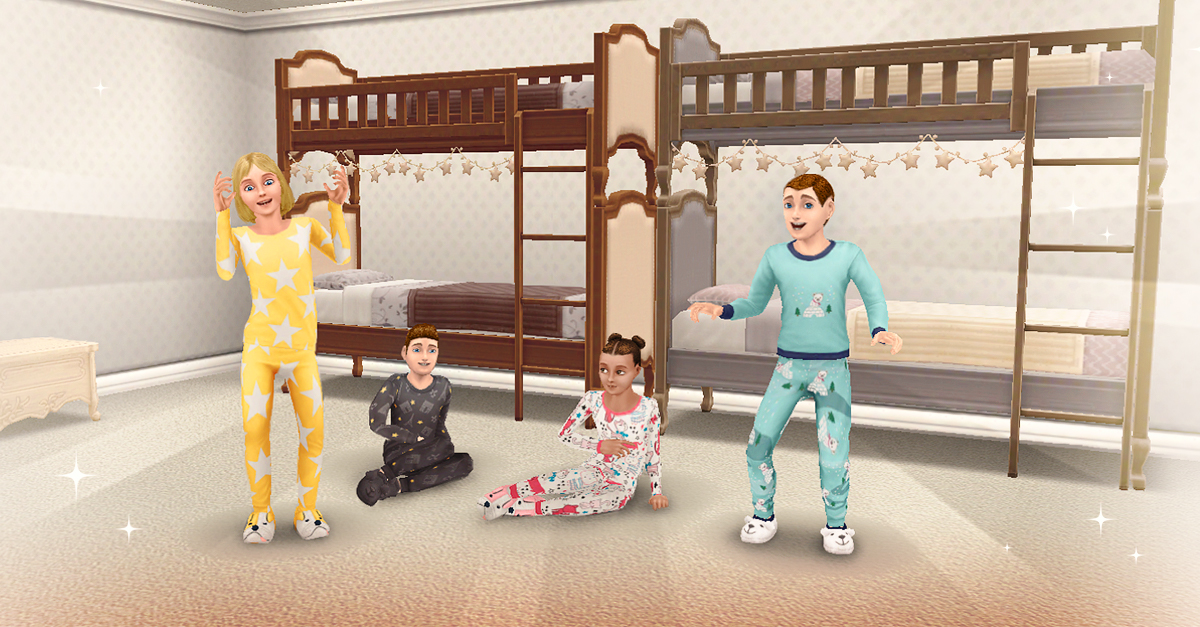 Its slumber party time! In the latest season of SimChase Bedroom Bedlam earn French themed bedroom furniture and new bunk beds! And did we mention new sleepwear for seniors, teens and preteens?! 🛏️
