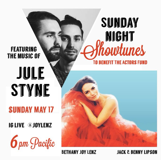 This Sunday! #SundayNightShowtunes with @jackbennynow for @TheActorsFund! Here's the link to last week's