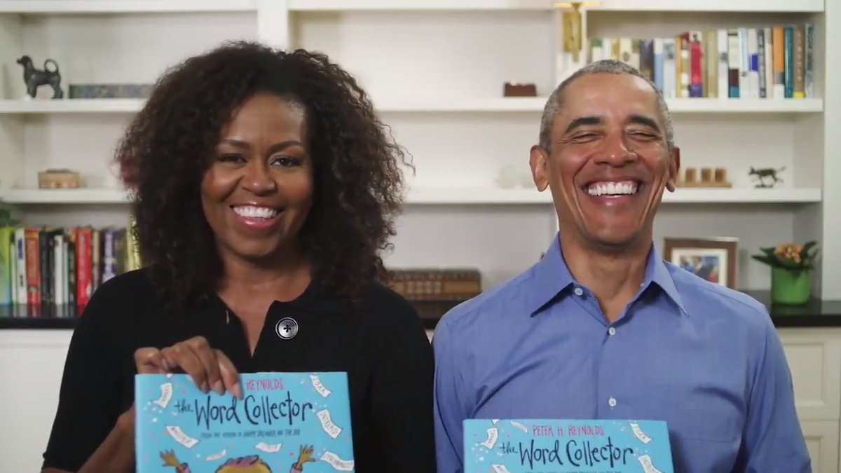 """Michelle and I want to do our part to give all you parents a break today, so we're reading """"The Word Collector"""" for @chipublib. It's a fun book that vividly illustrates the transformative power of words––and we hope you enjoy it as much as we did. https://t.co/ADYbL6Dzg4"""