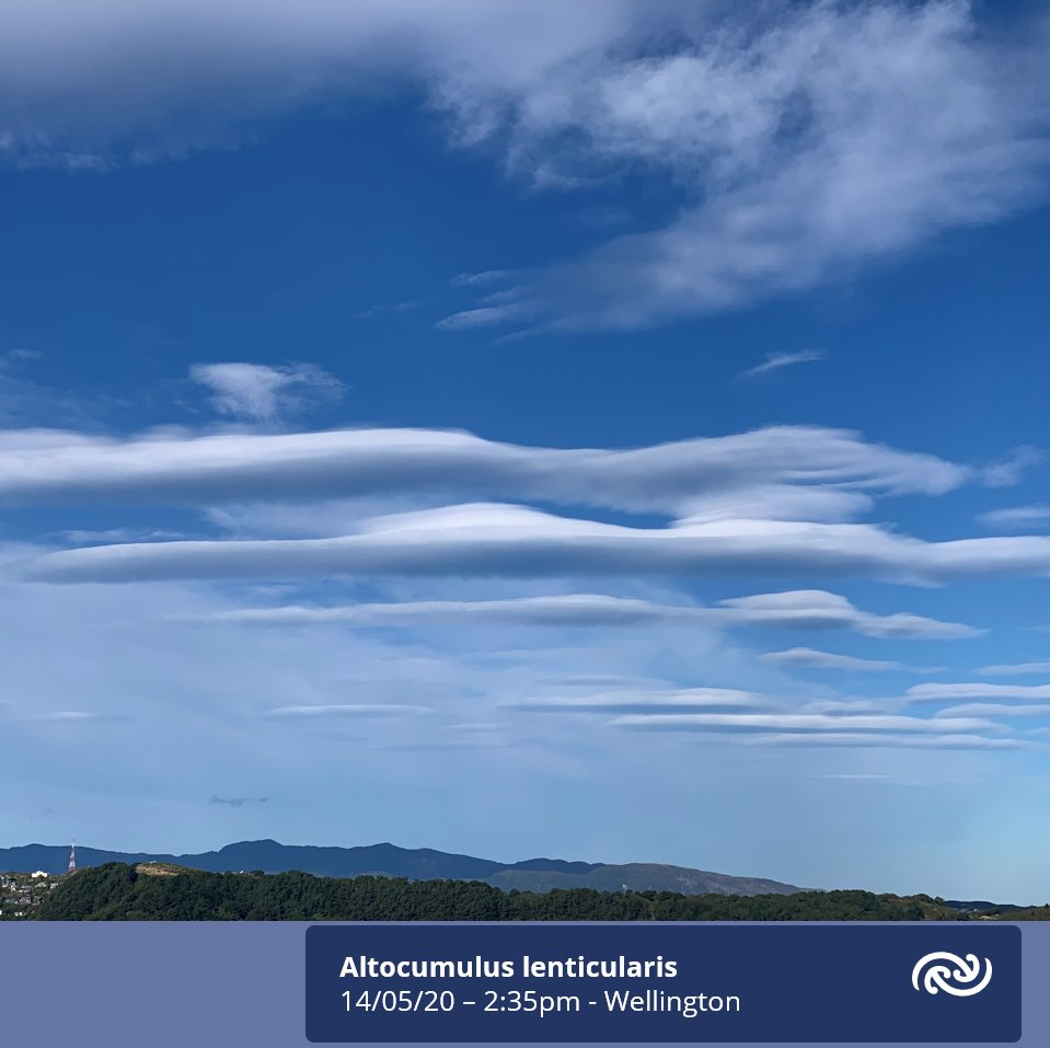 Strong northerly winds over the Capital this afternoon combined with moisture at mid-levels in the atmosphere generated spectacular wave clouds over the eastern hills. These are Altocumulus Lenticularis clouds. Learn more at blog.metservice.com/Turbulence. ^AB