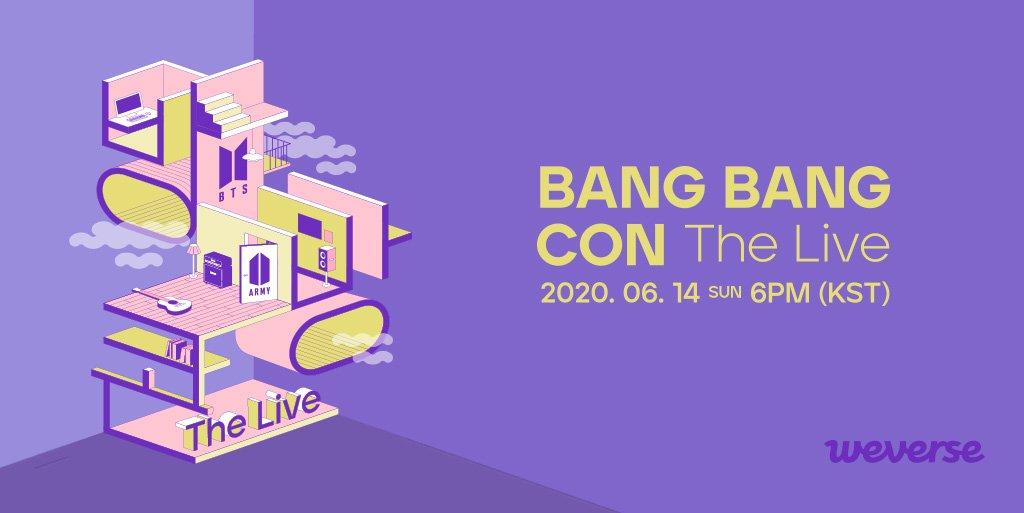 방방콘 The Live가 6/1(월) 1PM(KST)부터 #위버스샵 에서 사전판매됩니다. ARMY의 방에서 멀티뷰로 생동감 있게 즐기는 방탄소년단 의 안방 콘서트를 기대해주세요. 🎵공연일 : 6/14(일) 18:00 (KST) 더욱더 자세한 내용은 👉app.weverse.io/sxoyrg
