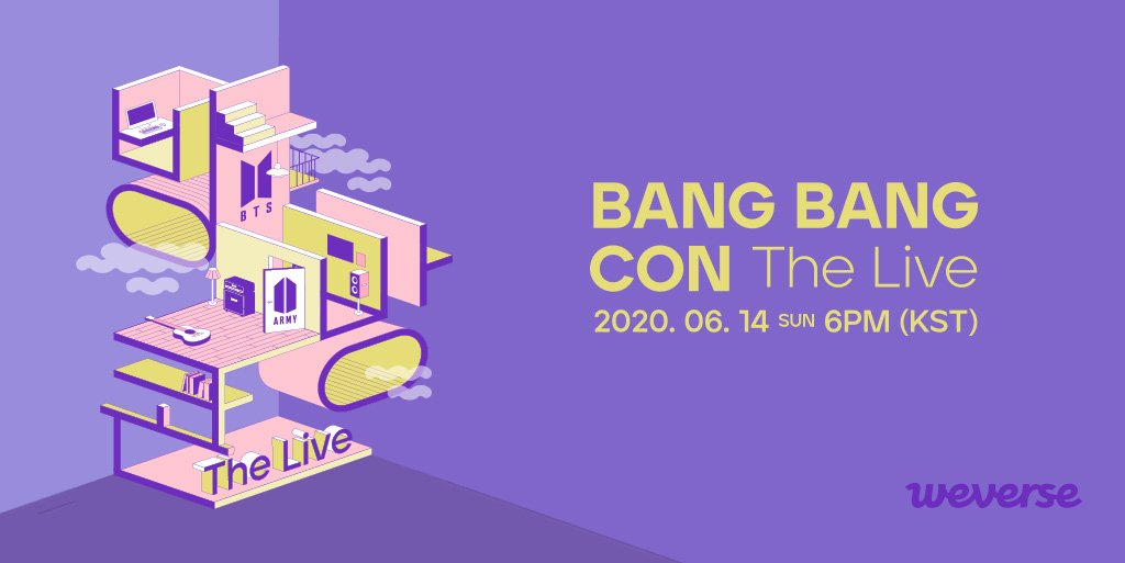 BANGBANGCON The Live will be on #WeverseShop for pre-order starting 1 Jun, 1 PM (KST)! Stay tuned for another exciting and lifelike BTS concert experience in your room with the brand-new multi-view feature! 🎵 Concert: 14 Jun, 6 PM (KST) More info👉app.weverse.io/sxoyrg