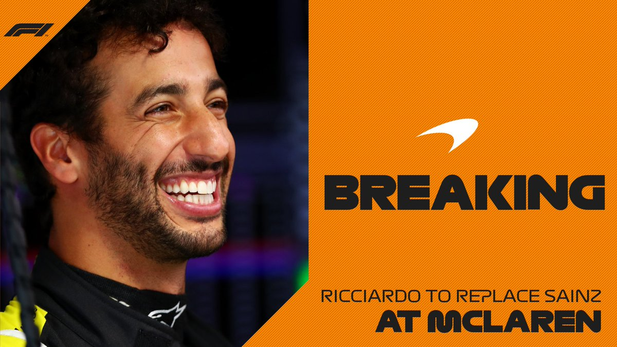 BREAKING: Daniel Ricciardo to join McLaren in 2021  #F1 https://t.co/CckaoJX4DX