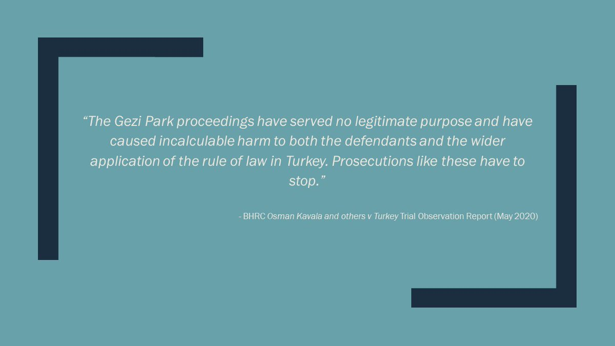 BHRC has published its observations in full of the #GeziPark trial, including events following the acquittal of #OsmanKavala & others in Feb 2020 in #Turkey Kavala remains detained after he was re-arrested following the acquittal. Read the report here: barhumanrights.org.uk/bhrc-publishes…