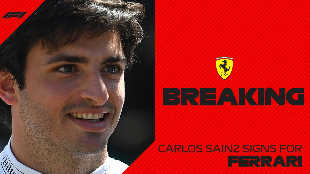 BREAKING: Carlos Sainz joins Ferrari for 2021  #F1 https://t.co/eMy1PGOTce