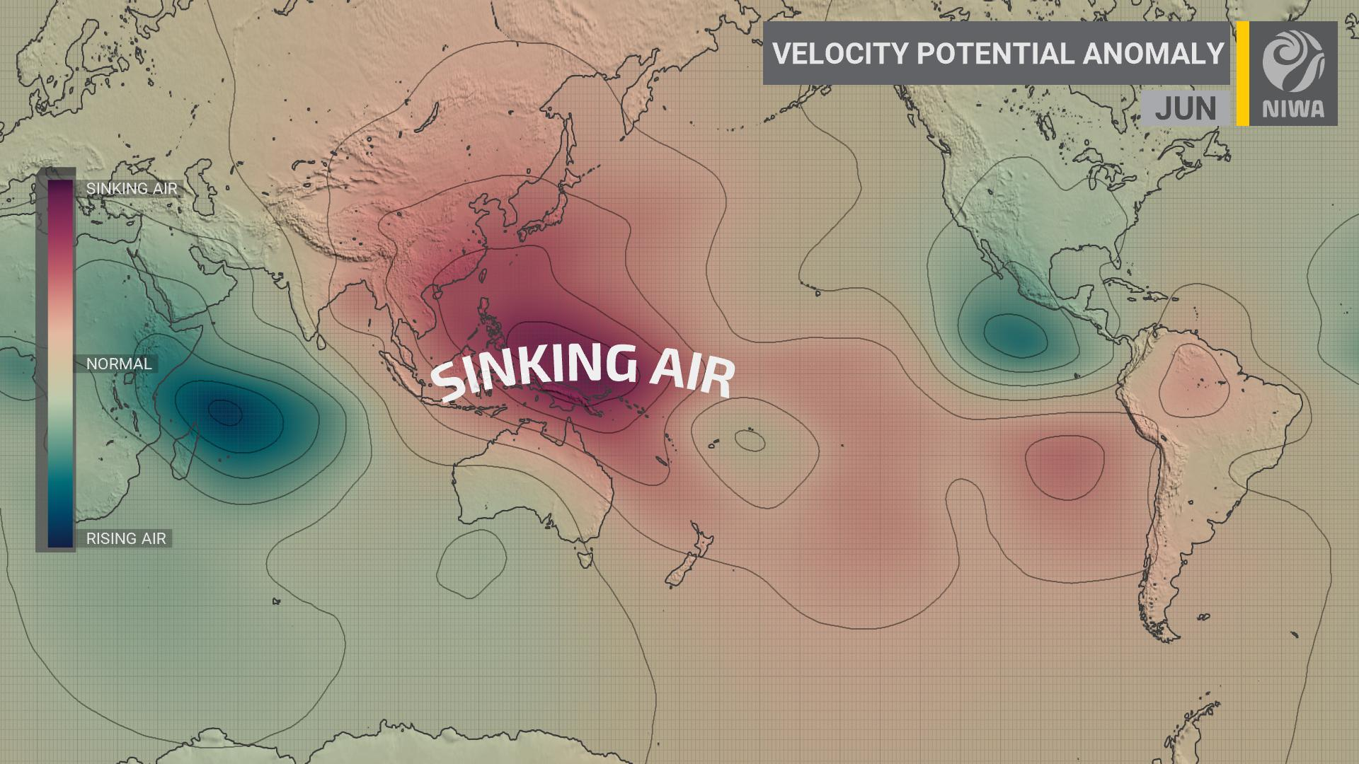 Looking ahead to June: more dry weather possible ️    NZ could continue to be less exposed to moist northerly air flows due to an anomaly in the Walker Circulation — a large sinking cell of air sitting over the tropical Pacific.