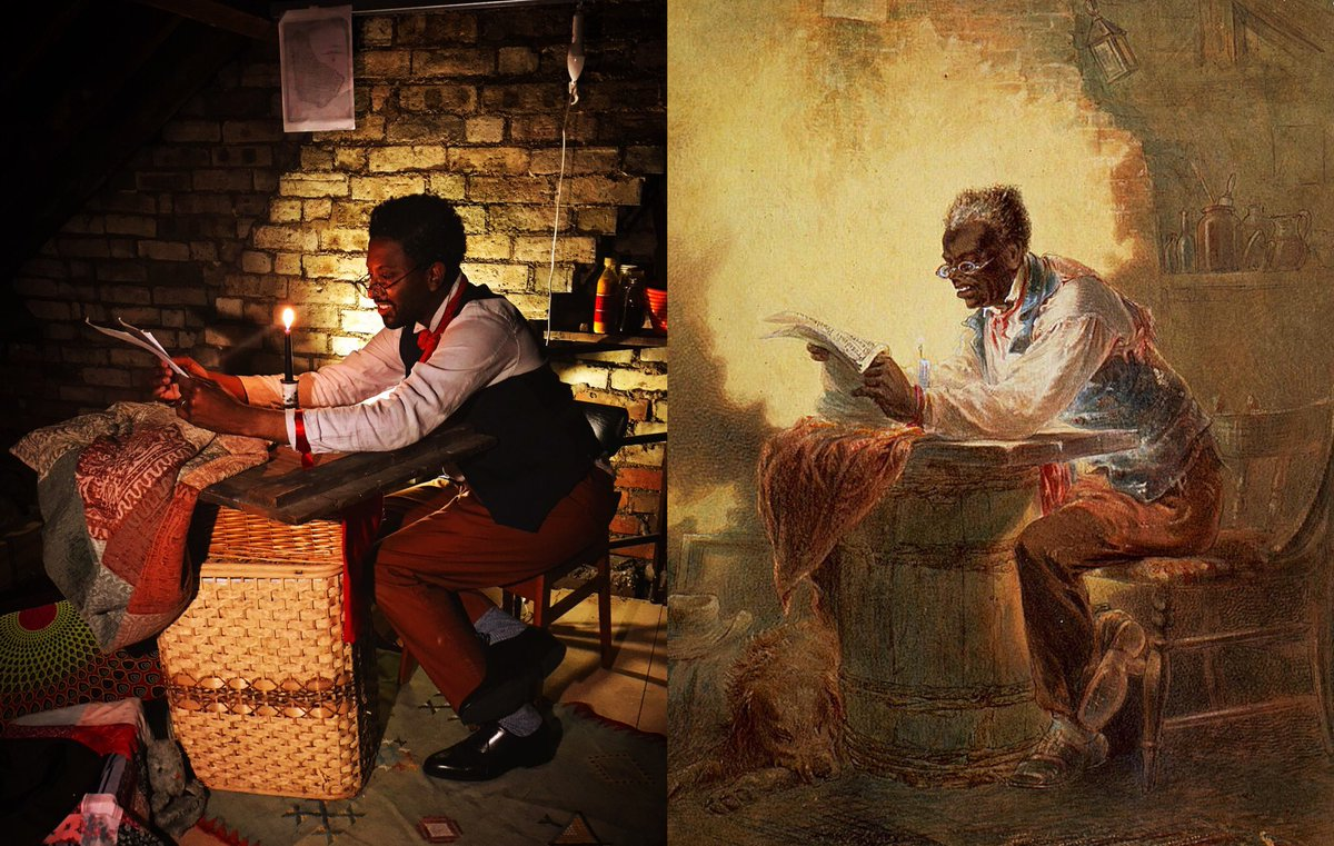 """H. L. Stephens: Man reading headline, """"Presidential Proclamation, Slavery""""(1863). Referring to Lincoln's Emancipation Proclamation. Reworked reading Peggy's manumission papers (my great granny x4). Rediscovering #blackportraiture through #gettymuseumchallenge. #gettychallenge https://t.co/yZpCih4xS4"""