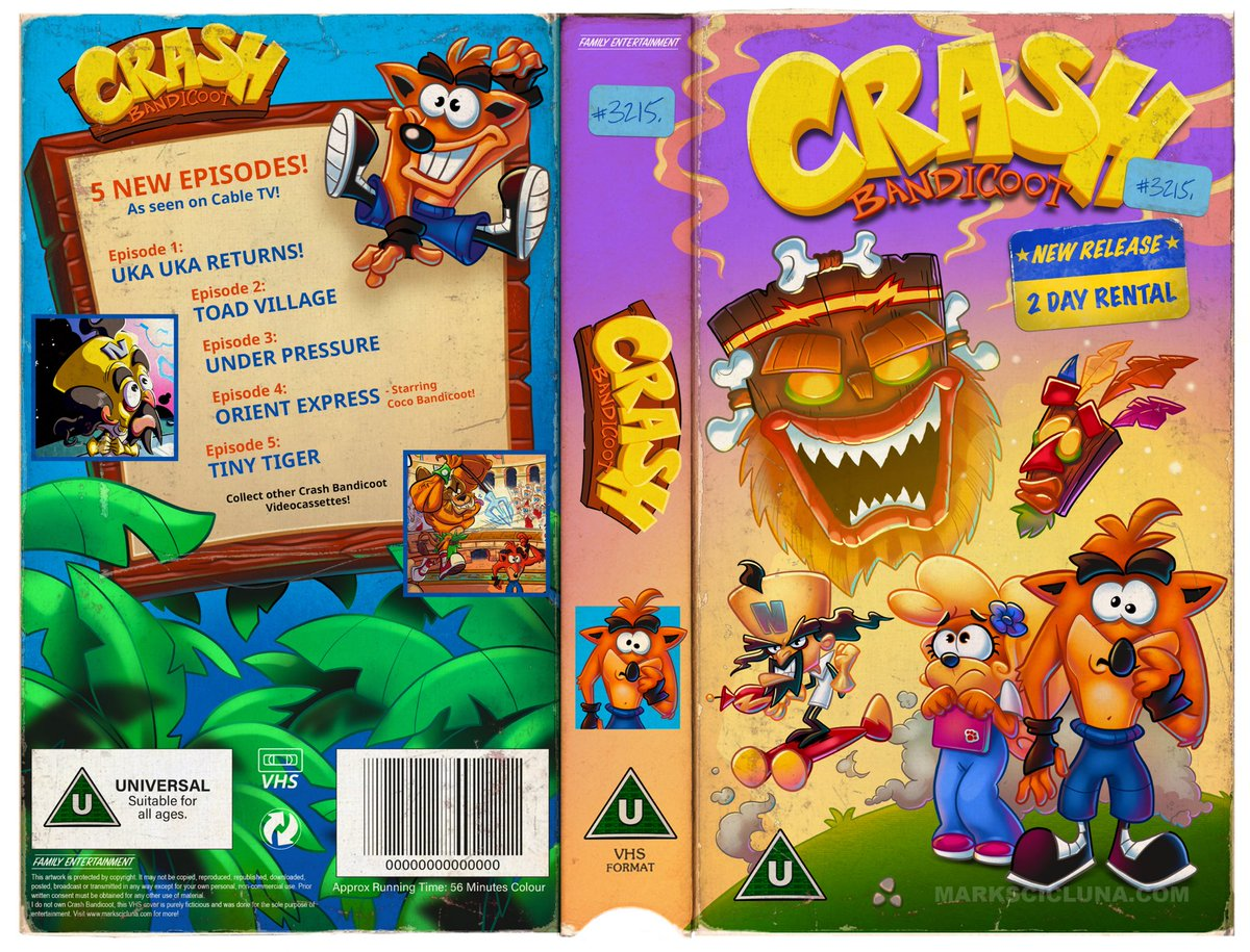 Mark Scicluna On Twitter Imagining What Could Have Been Crash Bandicoot The Animated Series Vhs Tape Cover Crashbandicoot Fanart Nostalgia Https T Co Dxm83aokiw E10+ alcohol reference, cartoon violence, comic mischief, language. crash bandicoot the animated series vhs