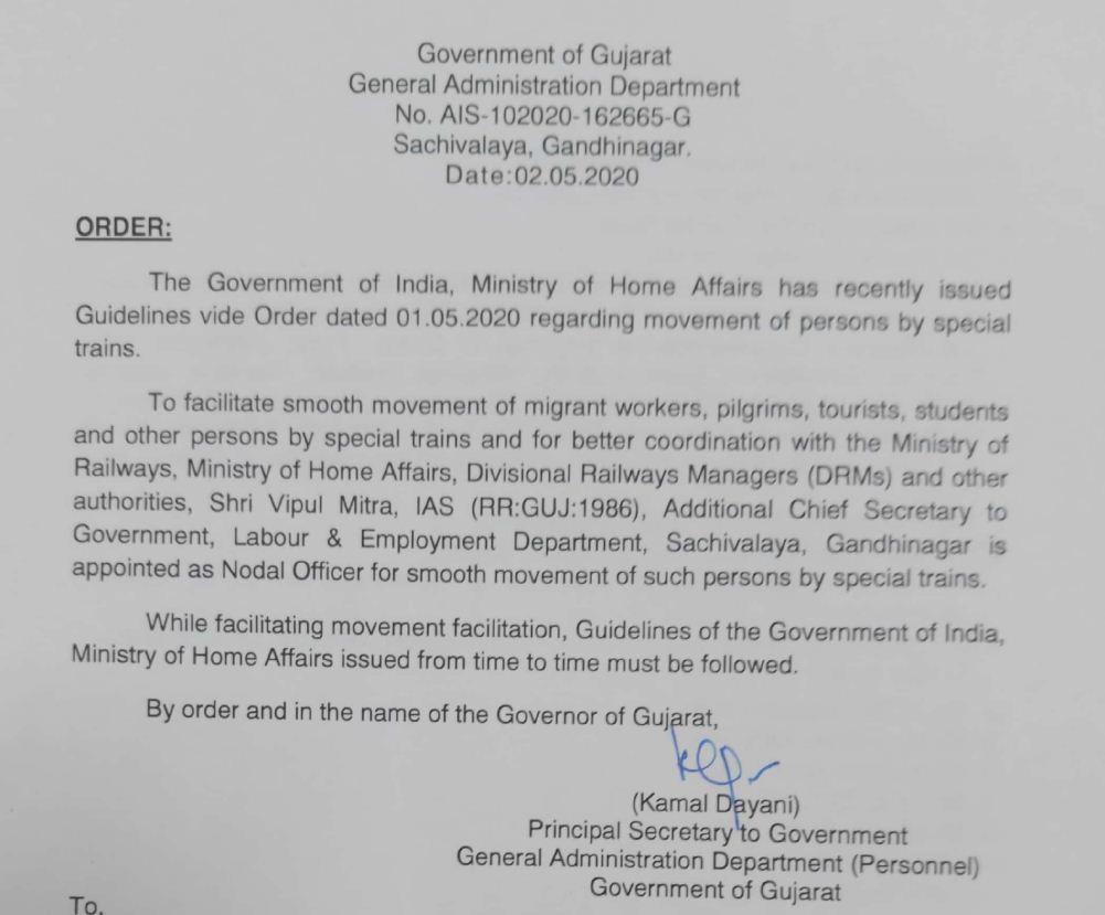 Mitra appointed as Nodal Officer for movement of stranded persons by special trains in Gujarat