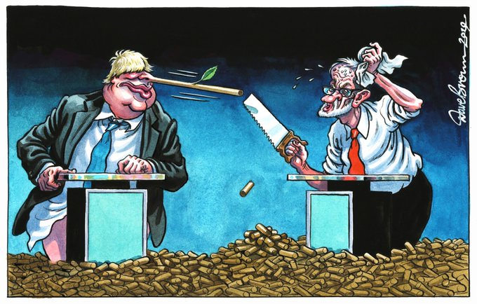 Britain had a choice between...  The honest, hard-working fella who kept stressing the importance of re-funding the NHS and social care.  And the posh Tory spiv who kept blathering #GetBrexitDone.   Which seems more important now?  #ToryLiars #BorisJohnson<br>http://pic.twitter.com/lSMPf7yG4b
