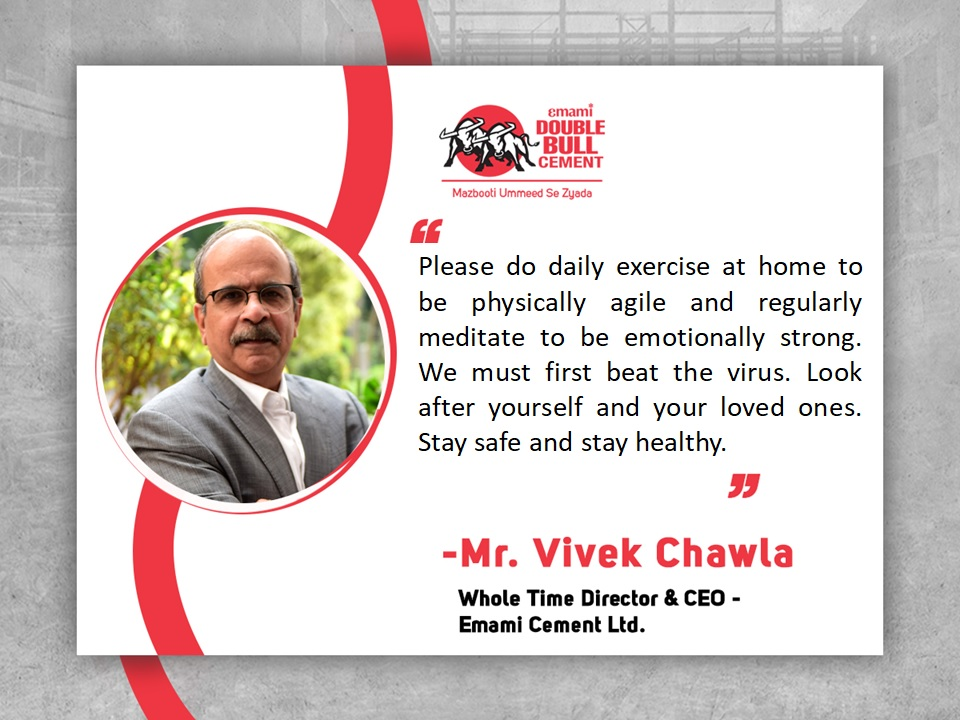 From the desk of Mr. Vivek Chawla – Whole Time Director & CEO , Emami Cement Ltd #ManagementQuotes  #CEOQuotes  #EmamiDoubleBullCementpic.twitter.com/n8wADp7U40