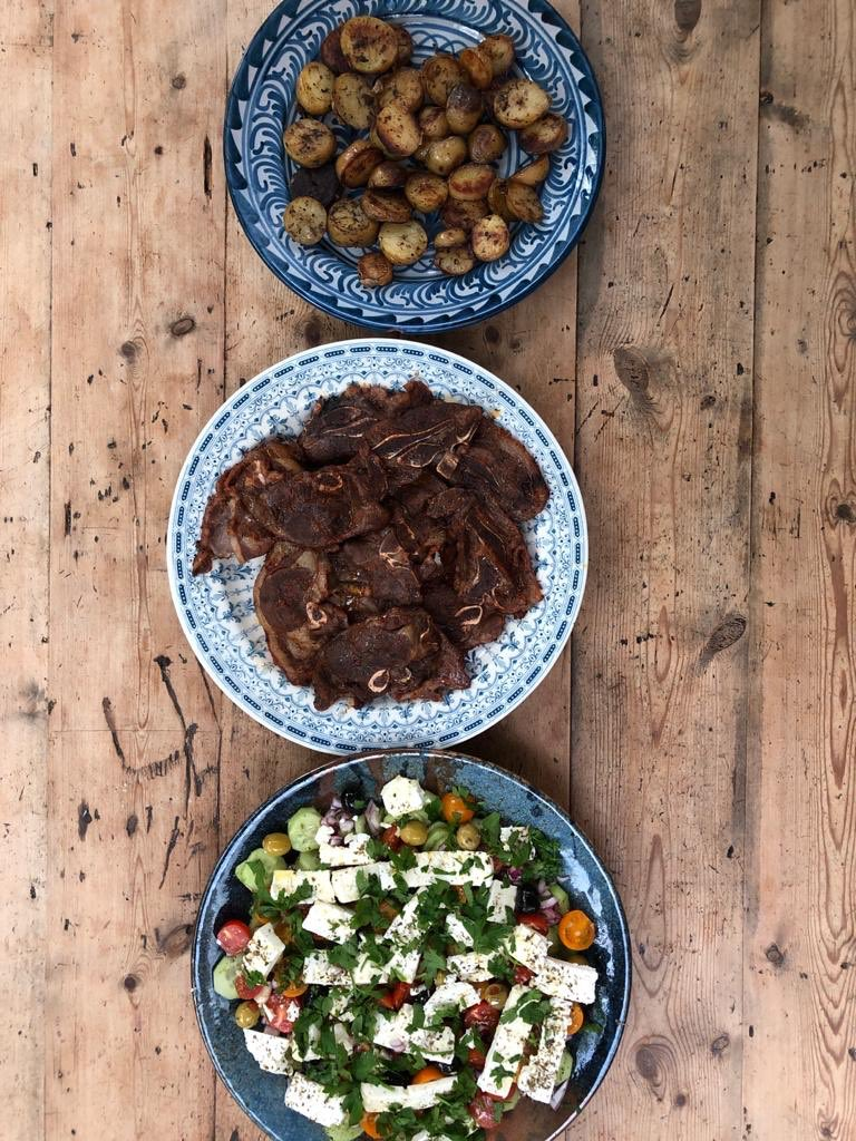 Proper proud of my Greek salad, minted lamb and fried potatoes for tonight's feast.