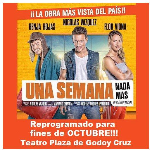 """¡En octubre la obra más vista del país llega a Mendoza para hacerte reír sin parar, """"Una Semana Nada Más"""" !  Comprá tus entradas en #EntradaWeb con cualquier tarjeta y en cuotas .  #espectaculo #teatro #unasemananadamas #nicovazquez #florvigna #benjarojas #comedia #risaspic.twitter.com/9PZ8NKDVMO"""