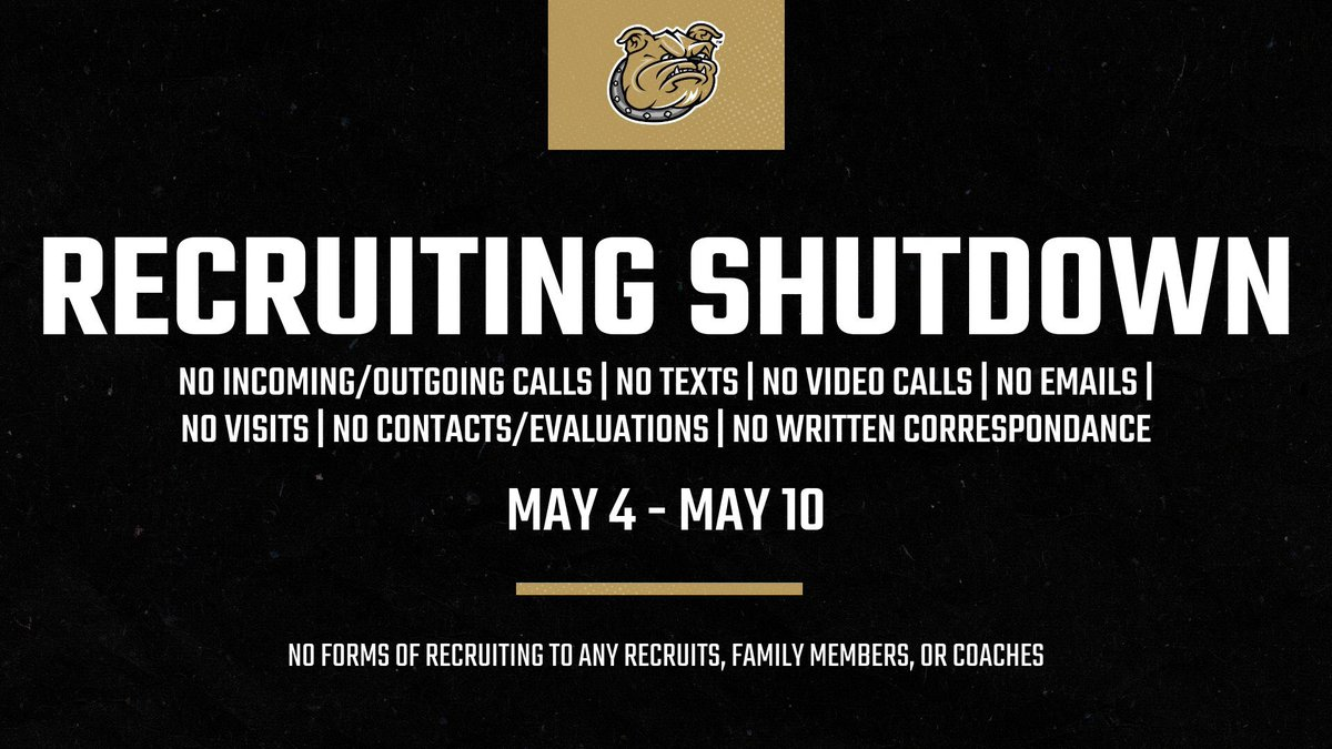 🚨🚨🚨🚨  Starting Monday we are in a recruiting shutdown! We will be back on May 11!   #WeAreBryant https://t.co/vSLNgNvK9Q
