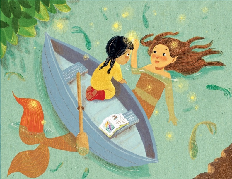 May 2 #mermay! This mermaid is granting Maya some magic. Have a nice spring allergy-free weekend! Me? I'm not doing too well. Achoo! #mermay2020 #Mermaid #sirena #kidlit #kidlitart #quarantart #folktales #MythicMay #illustration #picturebook #childrensbooks #pinoypride #magicpic.twitter.com/vVHybQnrGx