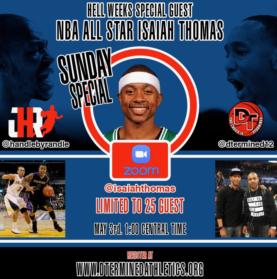 "Tomorrow, NBA All Star @isaiahthomas is coming through to support🔥Hell week🔥put on by @jerome_randle and our Founder DaShaun ""DT"" Thomas!! There will be work of course, and also a Q&A following the session! Spots are limited! https://t.co/bkHdT24SEM"