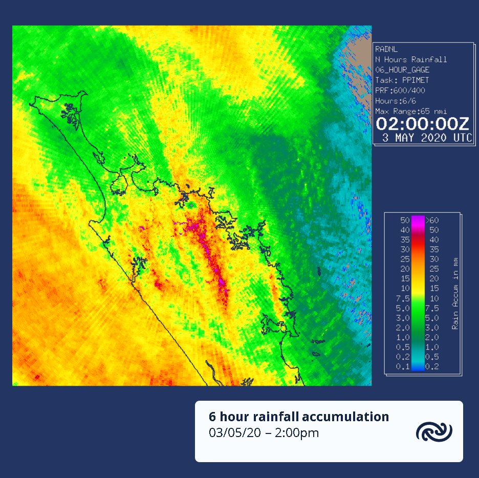 And here's the 6 hour accumulated rain that has fallen so far in Northland. Most places have seen a few mm, with Kerikeri a stand-out with 30mm in the last 6, and some of the more central areas seeing even more than that. bit.ly/NorthlandRadar ^TA https://t.co/vuRTJlo1Im