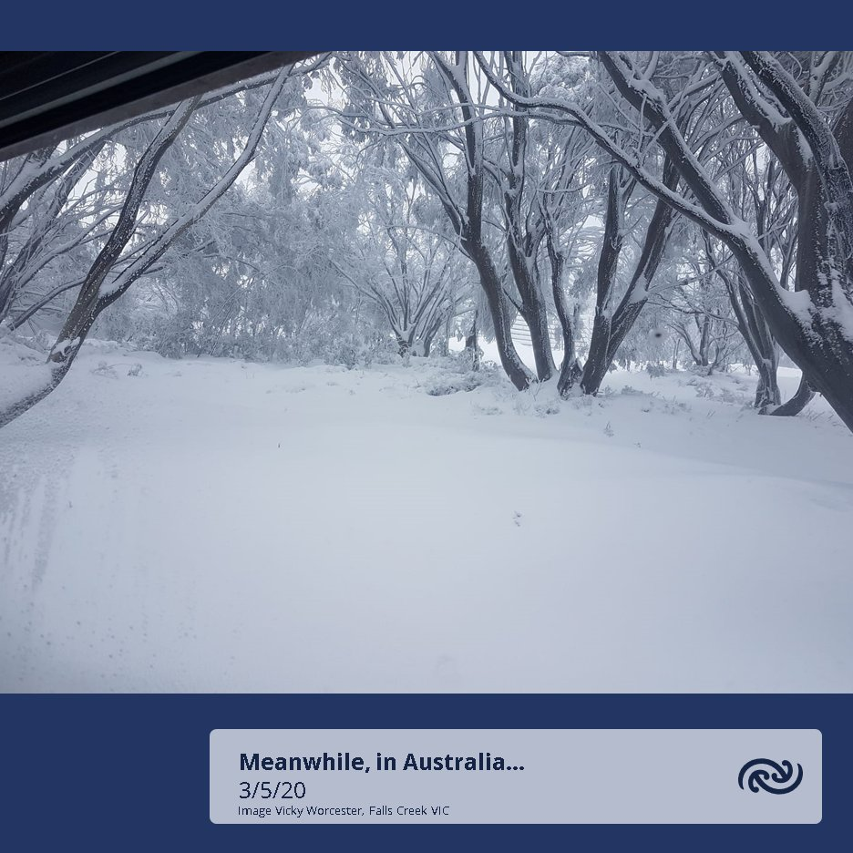 Another picture from the mountains in Australia, where they are seeing their first good dump of snow for the season. Expect some snow in the South Island ranges on Tuesday. Photo courtesy of Vicky Worcester, Falls Creek ^TA https://t.co/HpWKEvj3gs