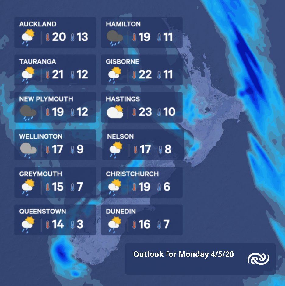 And here's your outlook for Monday. Not as warm as Sunday, but a lot warmer than Tuesday will be! More info bit.ly/metservicenz ^TA https://t.co/t93PvT2toM