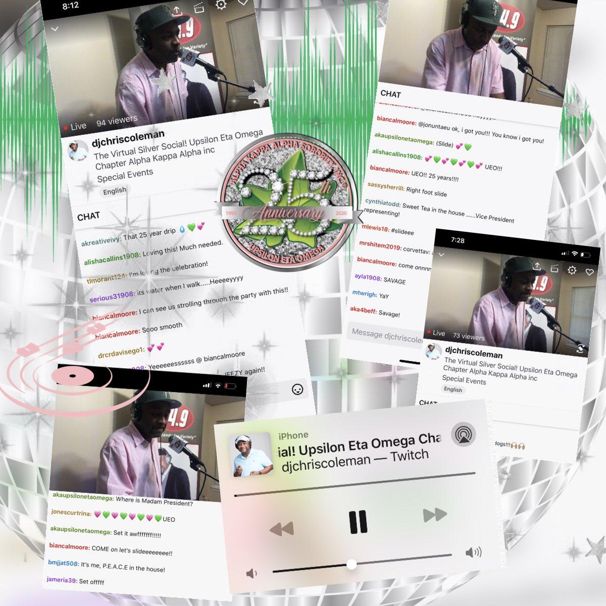Thank you to  @DJChrisColeman1 for a super fantastic virtual Silver Social!   Happy 25th Anniversary Upsilon Eta Omega! #AKAUEOTurns25  #AKA1908 #AKASouthEastern #AKAUEO #AKAUpsilonEtaOmega @akasorority1908pic.twitter.com/h77lokrVHN