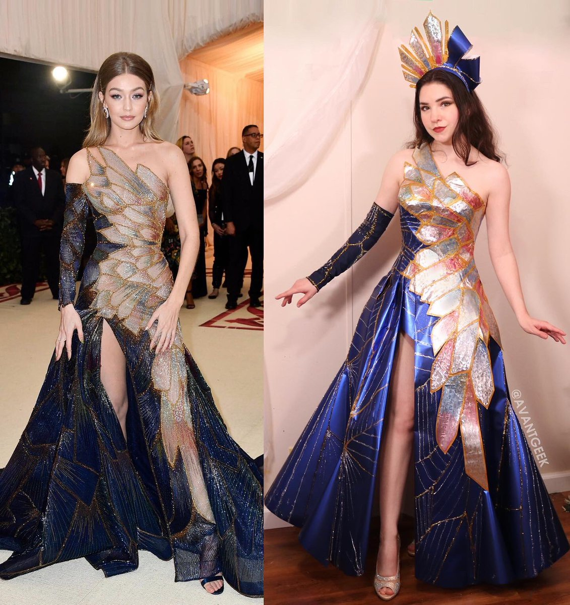 Finished my #metgalachallenge with a paper dress based on Gigi Hadid's Versace look. I'm really pleased with how it turned out considering it's made ENTIRELY of last Christmas' leftover wrapping paper, glue, paint, and a pillowcase for the sleeve. 😄 https://t.co/QgpWXVe0Jx