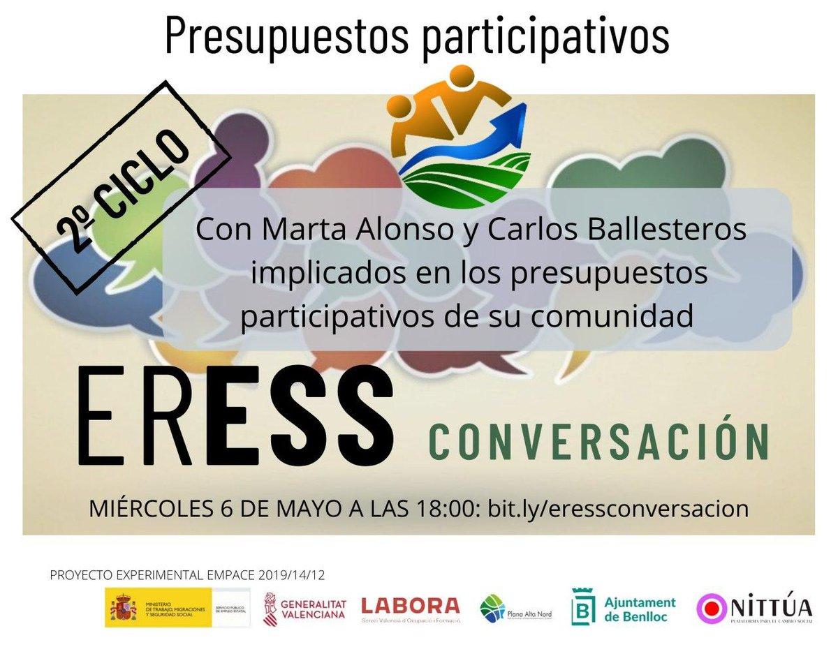 PRESUPUESTOS PARTICIPATIVOS  en nuestra próxima conversación de #ERESSCONVERSACIÓN el próximo miércoles 6 de mayo a las 18:00 en https://t.co/ckU3lLwOLe https://t.co/OQNQp8JIrI