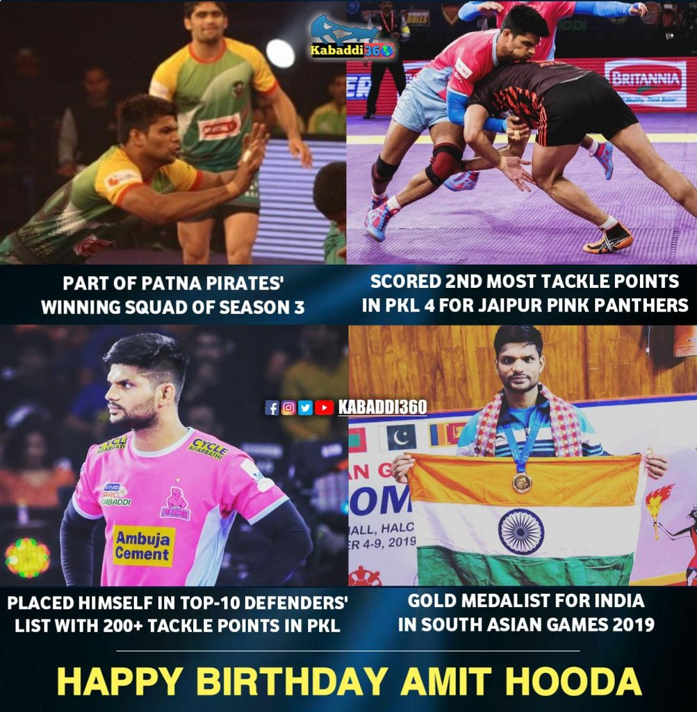 The talented right corner Amit Hooda turns 24 today! 🎂 Wishing him many happy returns of the day.  #AmitHooda #HappyBirthdayAmitHooda #Kabaddi360 #HappyBirthday