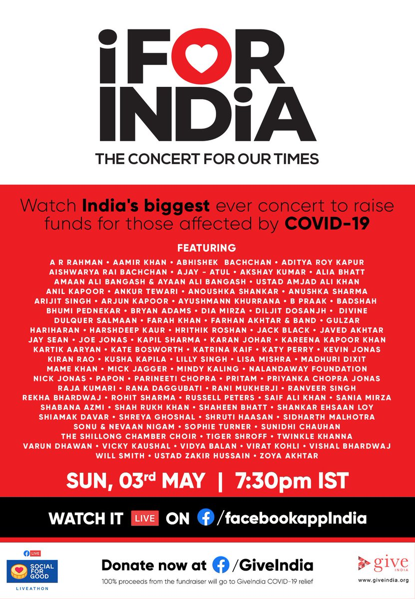 We bring you India's biggest at-home concert! 'iFor India concert' on TODAY at 7:30pm IST on https://t.co/oOyKQ4SyNe  #iforindia#socialforgood #coronavirusinindia https://t.co/FNOBA4DfN8