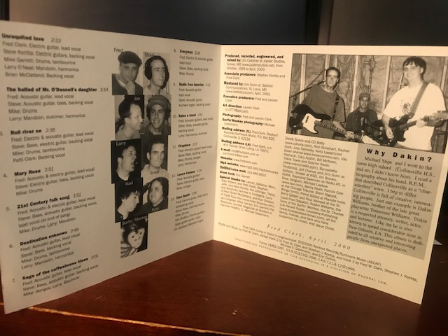 """My album, """"Living In Dakin's Neighborhood"""" turns 20 on May 9. Celebrating all month. Here is the inside of the cover. Liner notes, track listing, etc. #indie #musician #musicpic.twitter.com/e7kCgHvXHY"""