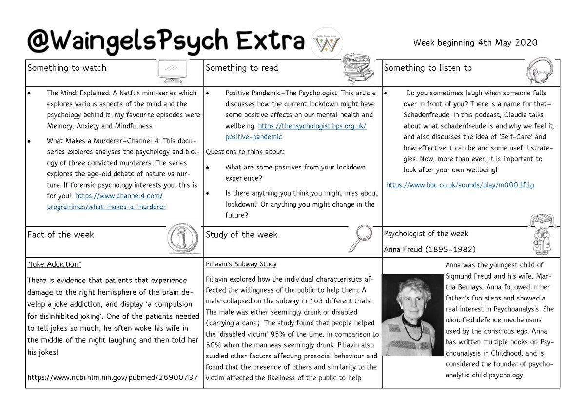 Another issue of some extra Psychology! Thanks to @MissPsychW for producing it this week!