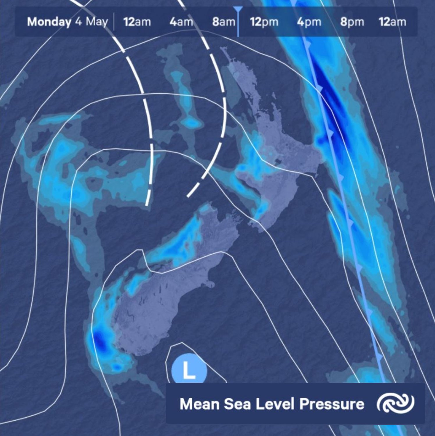 By late morning tomorrow the front that has driven a lot of the strong winds today will be gone, but several troughs in behind will keep the rain going tomorrow, especially in the west ^TA https://t.co/PCdCew5oYs
