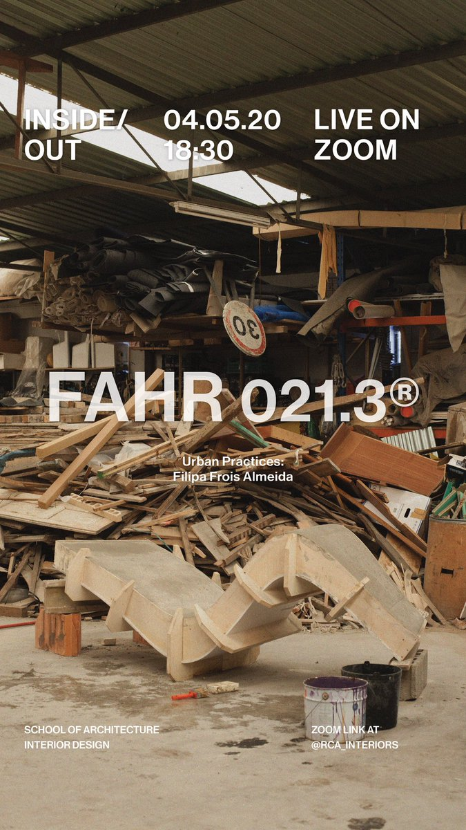 Our next Inside/Out Lecture series is coming up!  This week our guest will be @FAHR0213,an internationally awarded creative and experimental studio.  Monday 4th May at 6.30pm (GMT+1). The event will be live streamed on Zoom. Register in advance here 👇 https://t.co/Cuhn8WYJWL https://t.co/ba9HQtVoSf