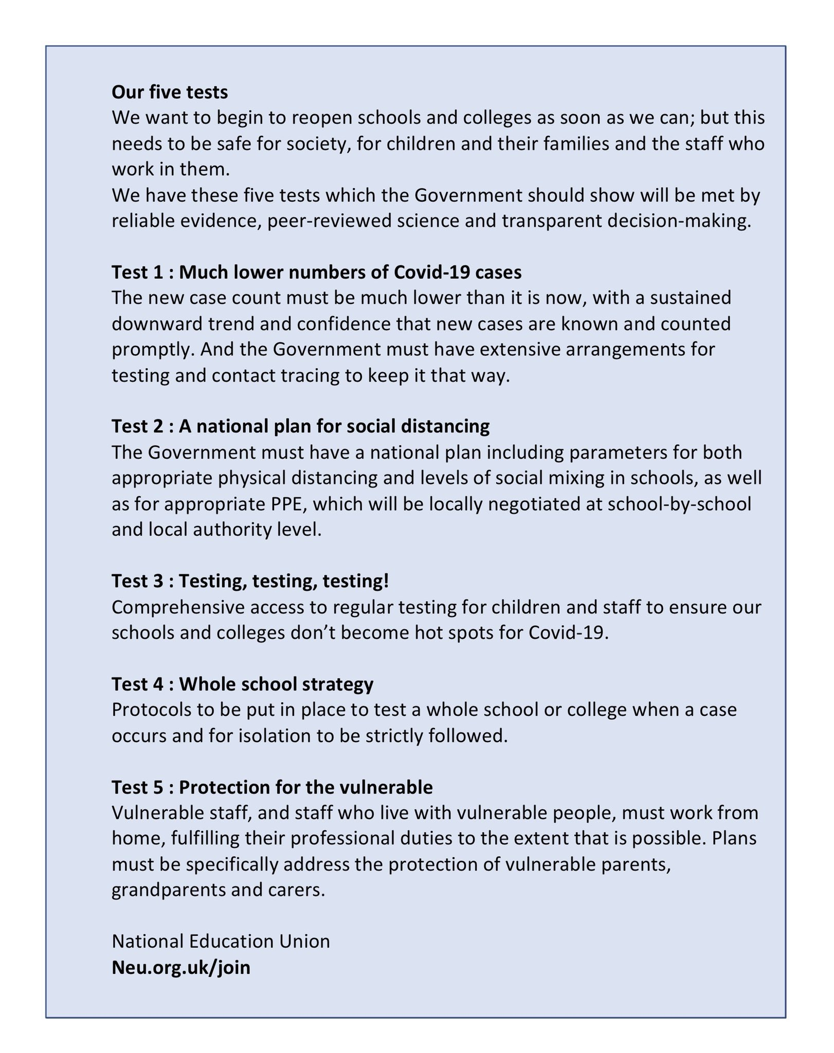 National Education Union On Twitter If You Want To Schools To Open When It S Safe Then Have A Look At Our Fivetests If You Agree With Them Then Please Tweet Them To