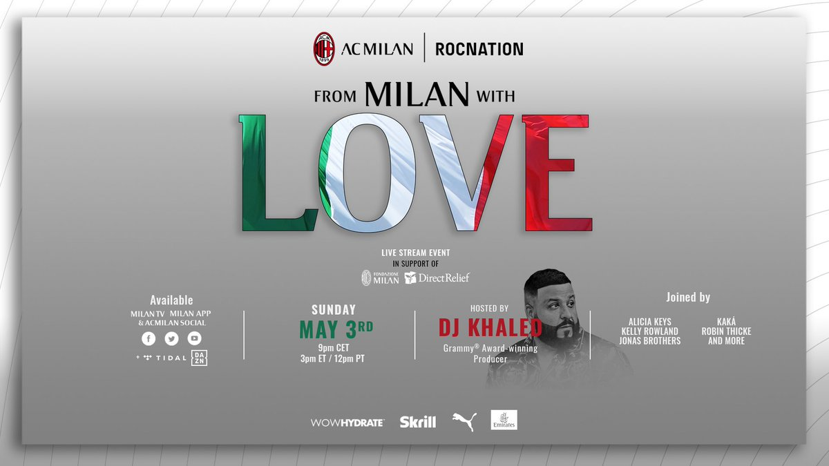 Proud to join forces with @acmilan for #FromMilanWithLove, a Global Tribute to key workers in Italy & beyond 🌍Sunday, May 3nd @ 9 pm CET / 3 pm EST   - Tributo globale a tutti i lavoratori impegnati nell'emergenza Covid19  in Italia e nel mondo 🌍  #FromMilanWithLoveun https://t.co/VFa5LNIz9t