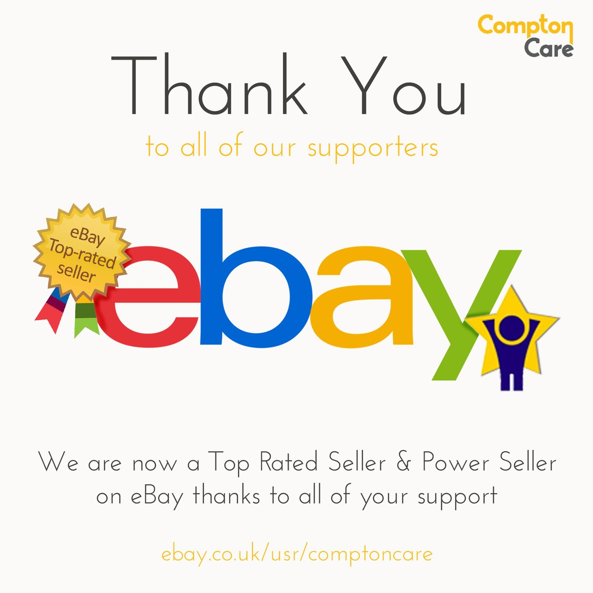 Compton Care On Twitter Our Ebay Store Has Reached Top Rated Seller And Power Seller Status What An Achievement We Would Like To Take This Opportunity To Thank All Of Our Supporters