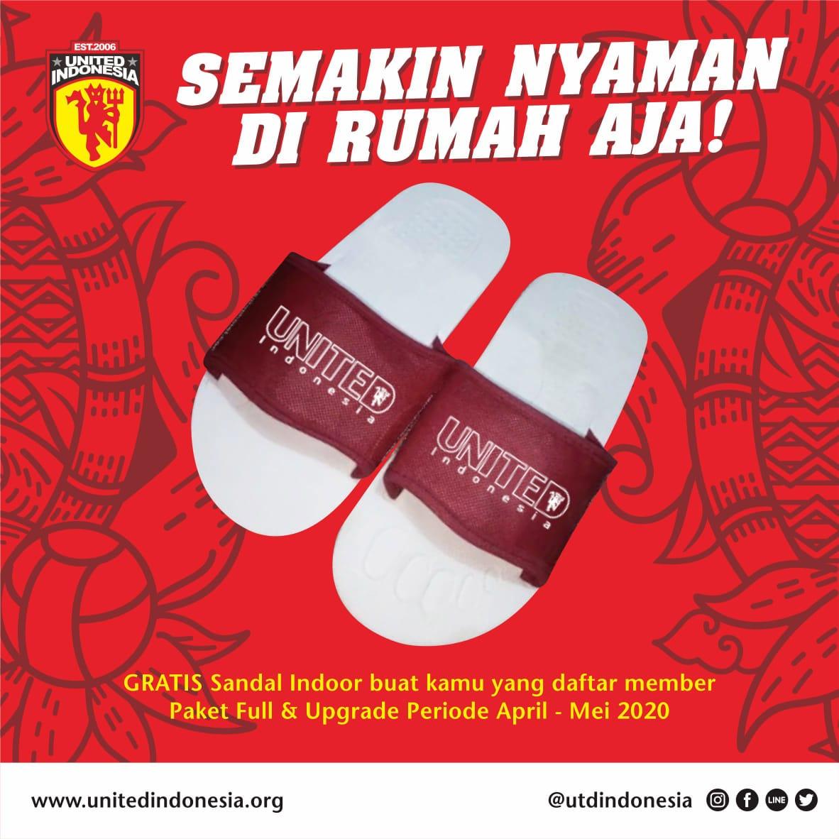 Dalam rangka ikut mensukseskan program #dirumahaja, kami memberikan bonus berupa sandal indoor buat kamu yang daftar Membership United Indonesia paket Full & Upgrade pada periode April-Mei 2020 https://t.co/ZXt6pPyZ6O